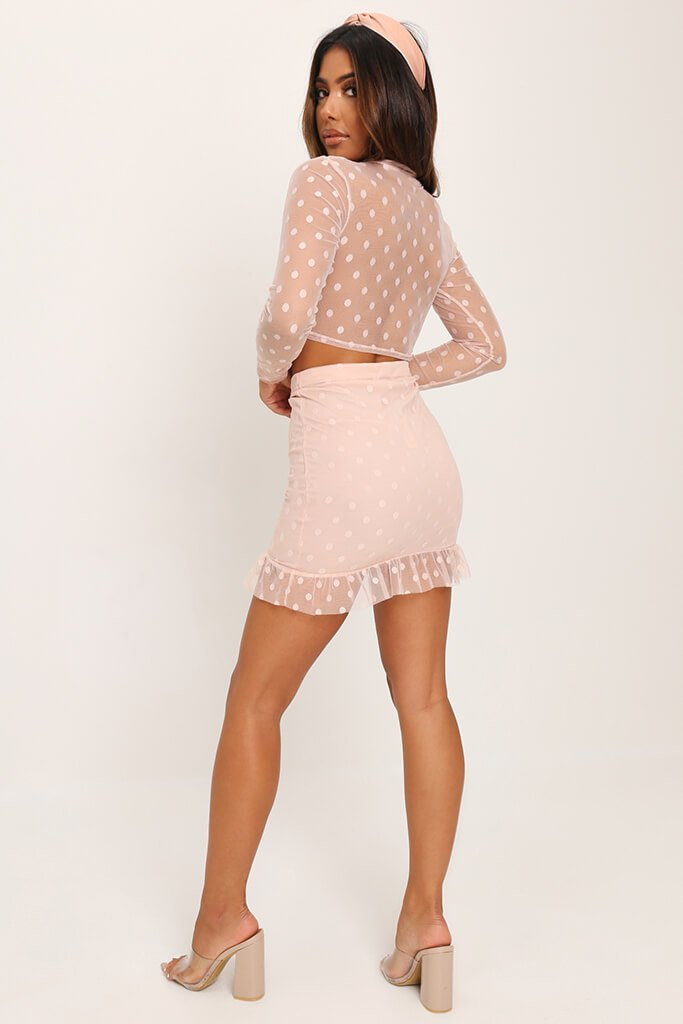 Nude Dobby Mesh Frill Sleeve Crop Top view 4
