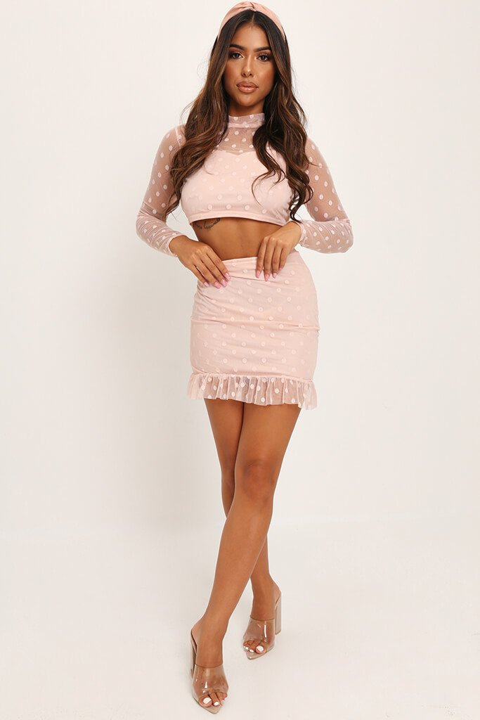 Nude Dobby Mesh Frill Sleeve Crop Top view 2