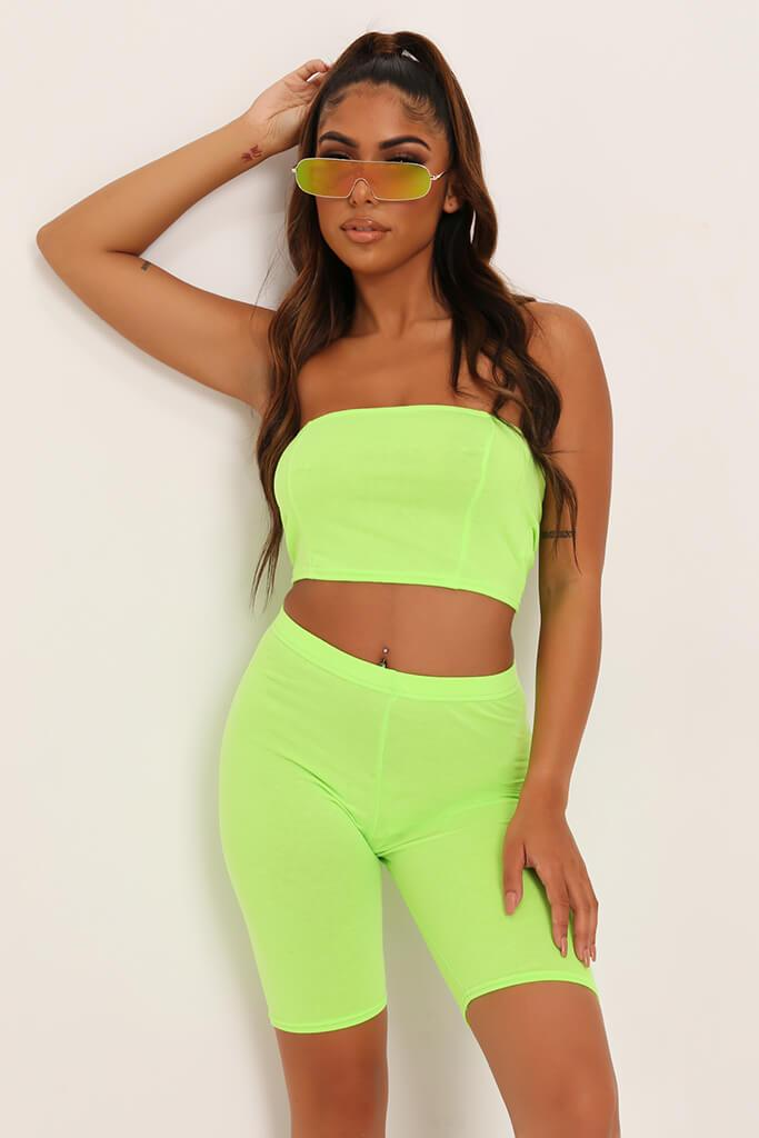 Neon Lime Jersey Bandeau Top view main view