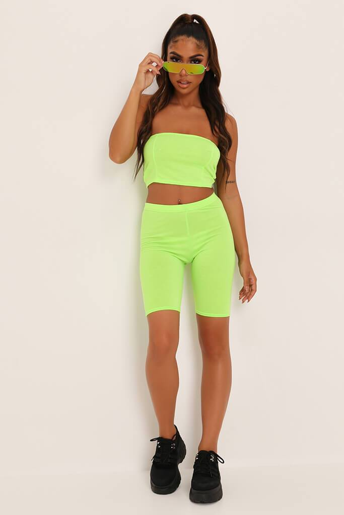 Neon Lime Jersey Bandeau Top view 2