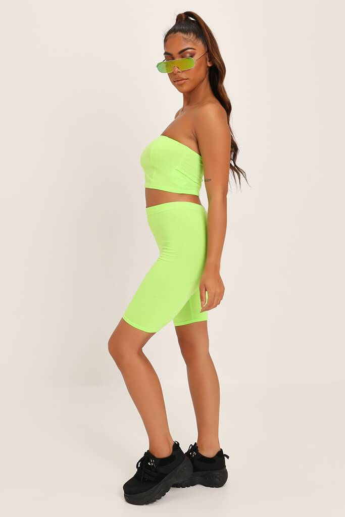 Neon Lime Jersey Bandeau Top view 3