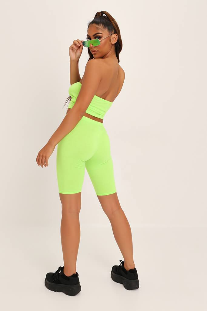 Neon Lime Jersey Bandeau Top view 5