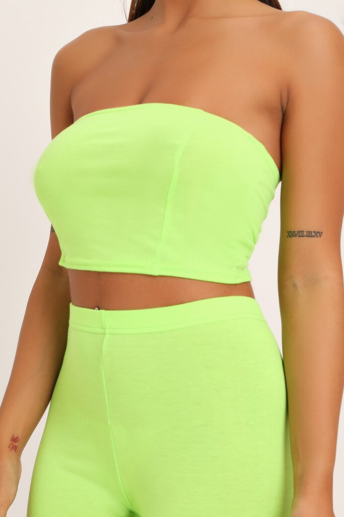 Neon Lime Jersey Bandeau Top view 4