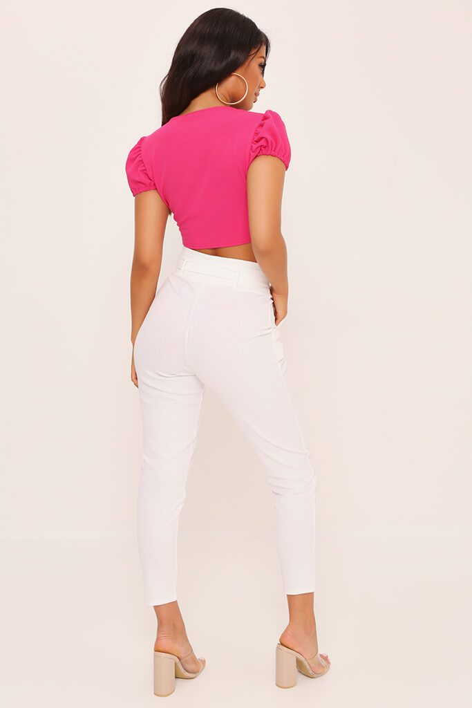 Fuchsia Milk Maid Scuba Crepe Hook And Eye Crop Top view 5