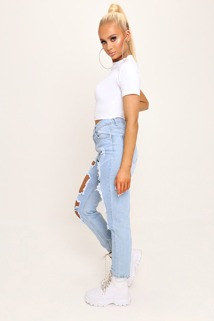 White Fitted Cotton Crop T-Shirt view 3