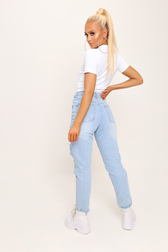 White Fitted Cotton Crop T-Shirt view 5