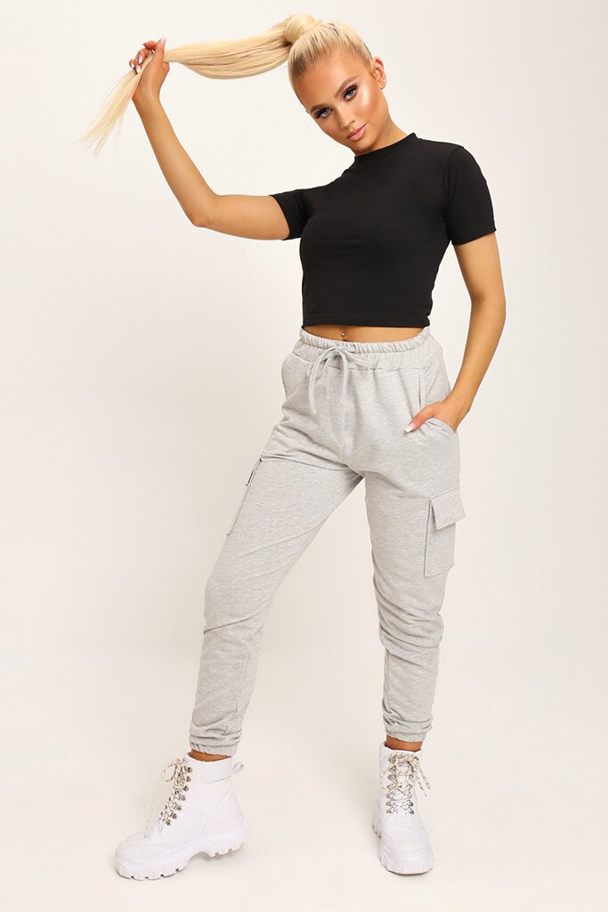 Black Fitted Cotton Crop T-Shirt view 2