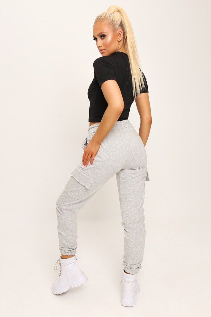 Black Fitted Cotton Crop T-Shirt view 5