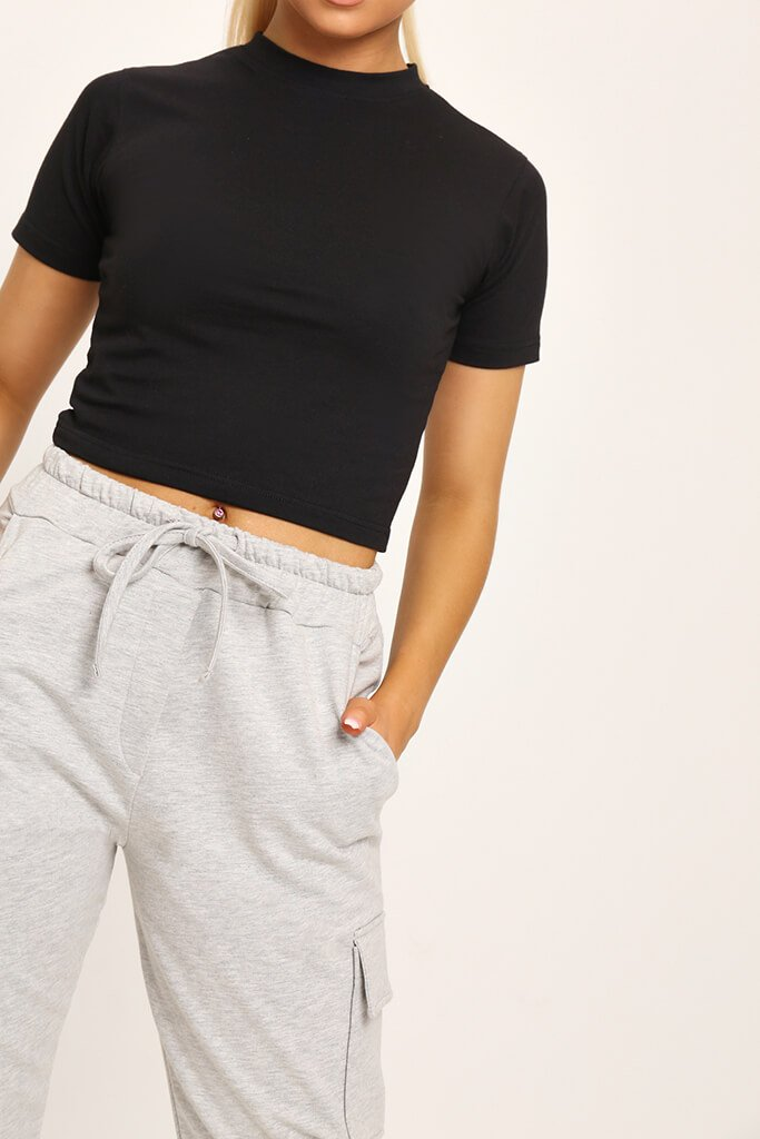 Black Fitted Cotton Crop T-Shirt view 4