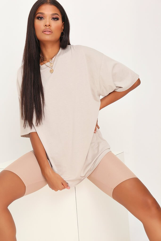 Sand Drop Shoulder Oversized Cotton T-Shirt view main view