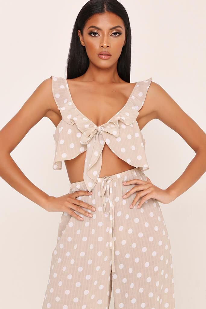 Beige Tie Front Frill Bralet view main view