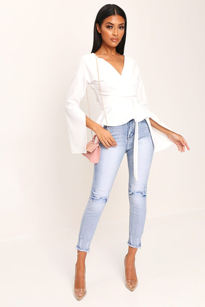 White Flare Sleeve Crepe Plunge Tie Waist Blouse