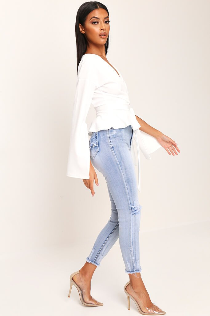 White Flare Sleeve Crepe Plunge Tie Waist Blouse view 2