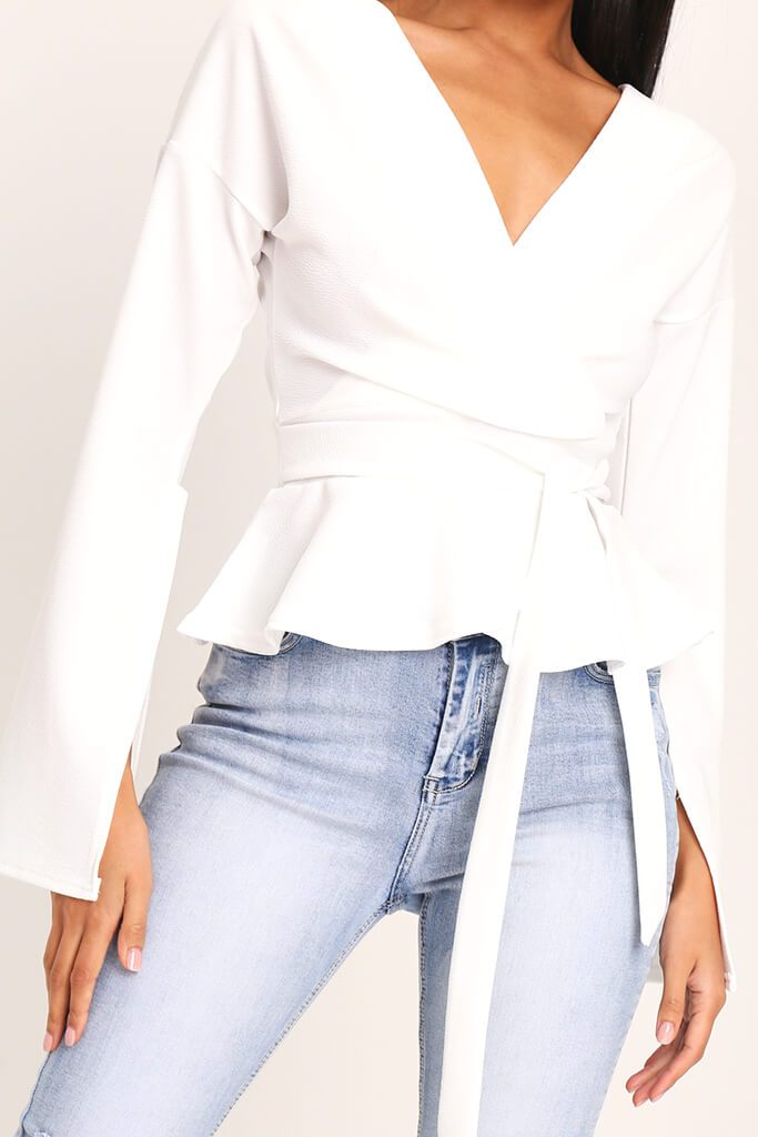 White Flare Sleeve Crepe Plunge Tie Waist Blouse view 3