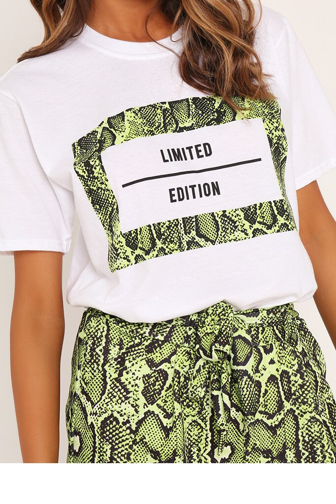 White Limited Edition Neon Snake T-Shirt view 4