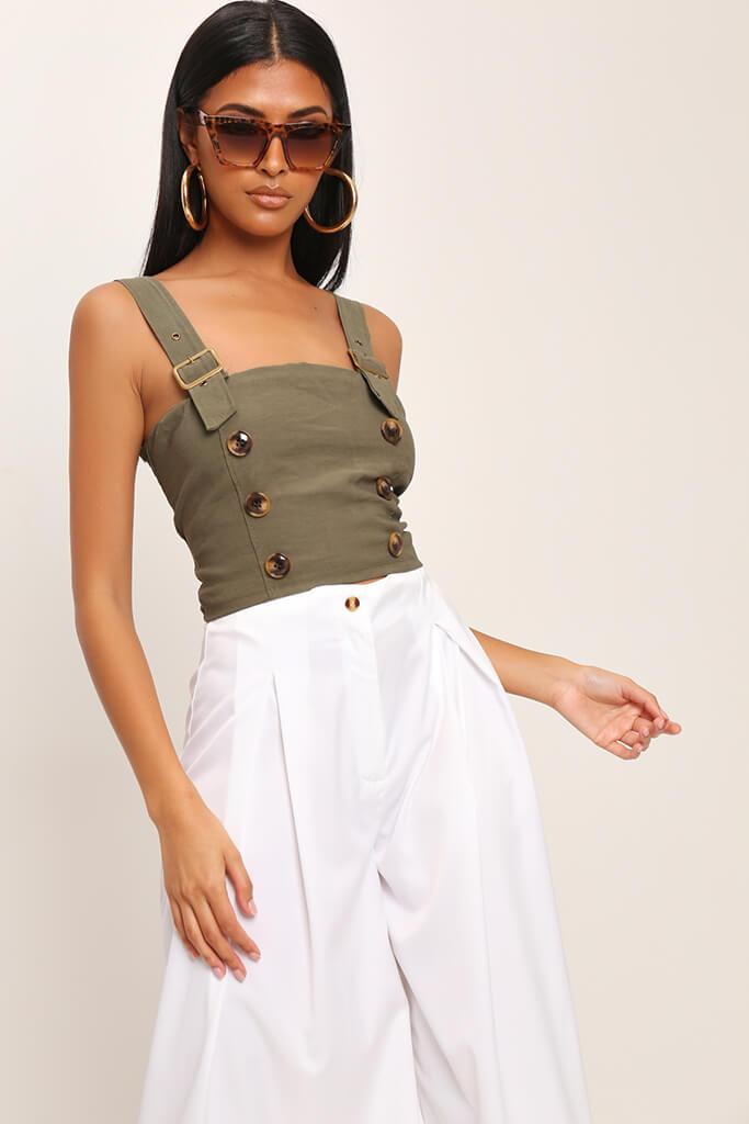 Khaki Buckle Strap Utility Crop Top view main view