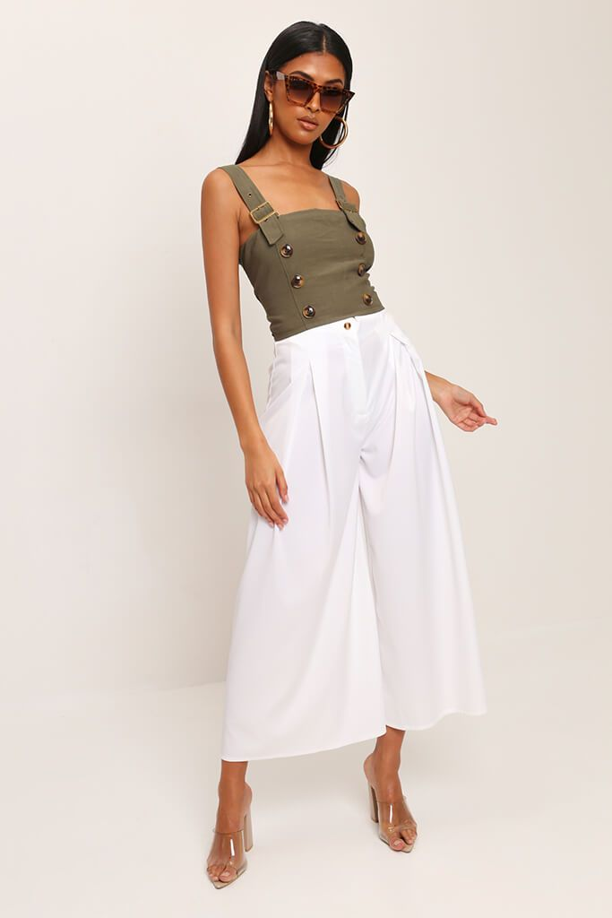 Khaki Buckle Strap Utility Crop Top view 2