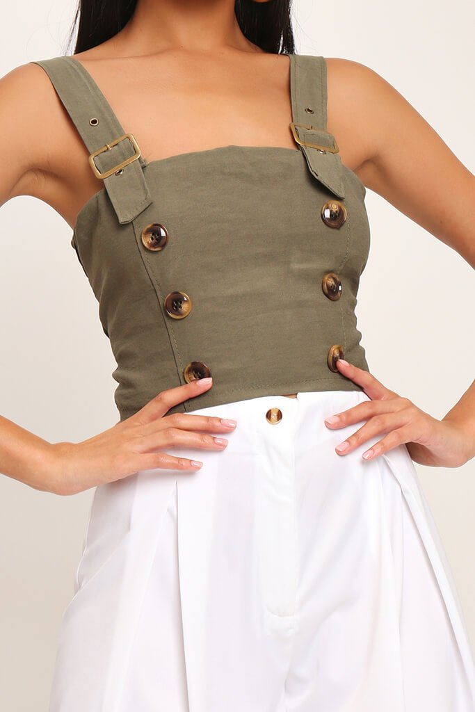Khaki Buckle Strap Utility Crop Top view 4
