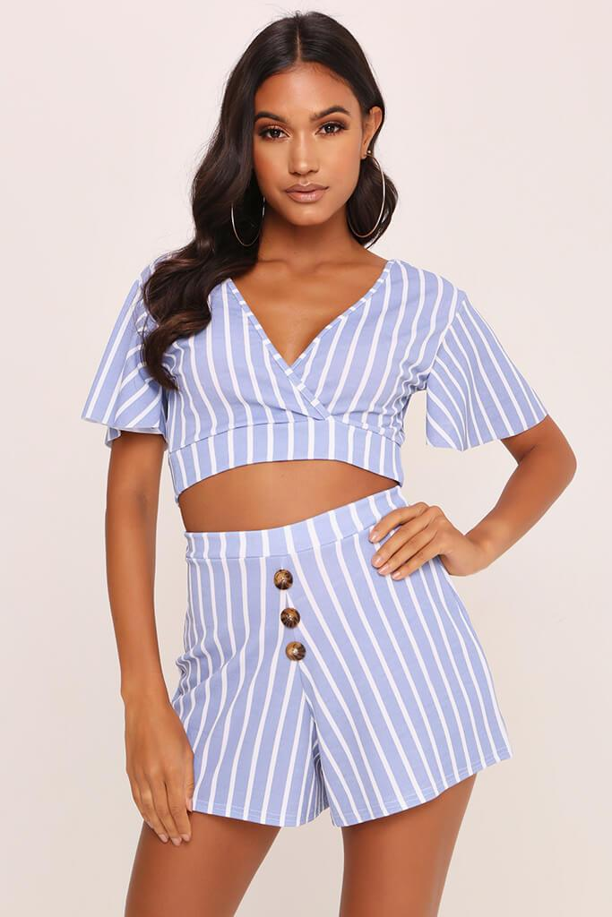 Pale Blue Stripe Short Sleeve Crop Top