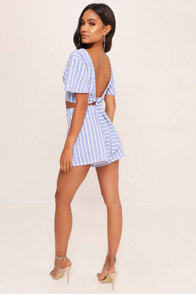 Pale Blue Stripe Short Sleeve Crop Top view 4
