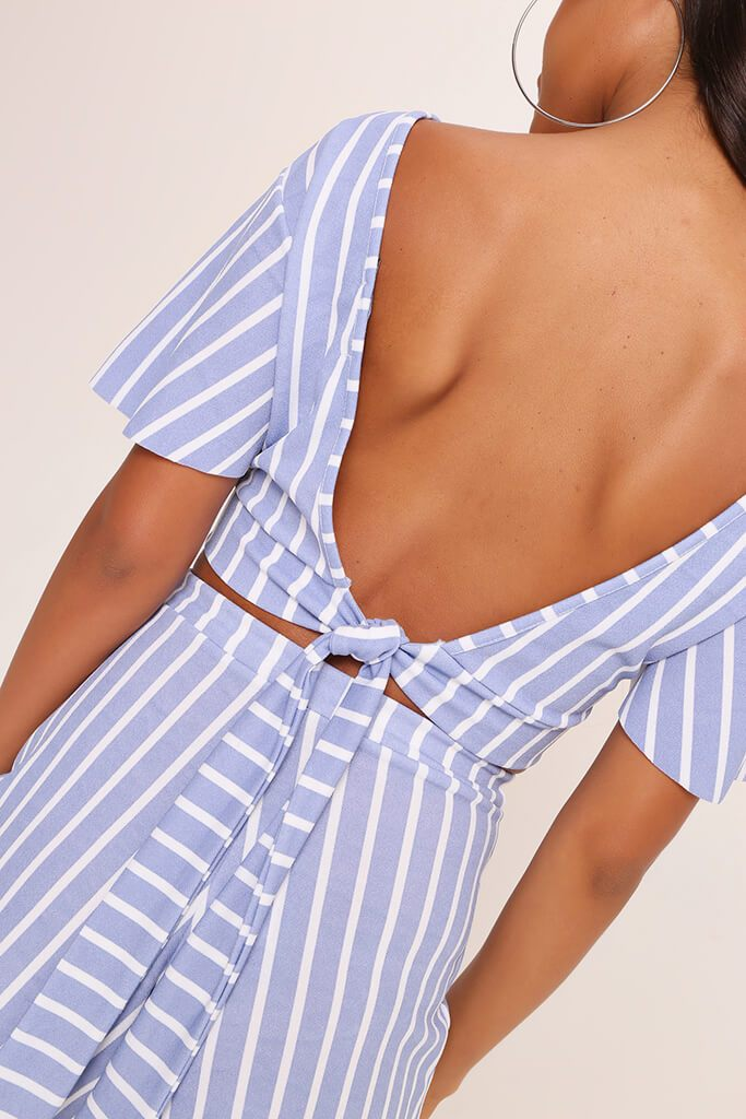 Pale Blue Stripe Short Sleeve Crop Top view 5