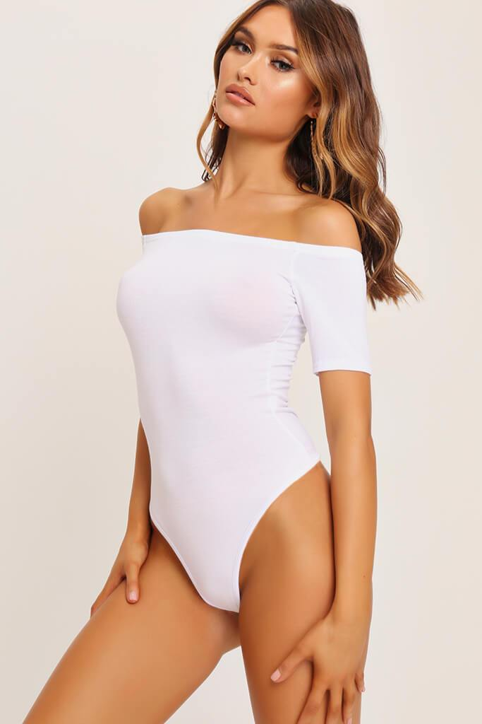 White Bardot Short Sleeve Bodysuit view 2