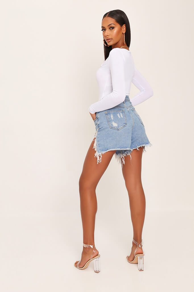 White Notch Front Long Sleeve Bodysuit view 5