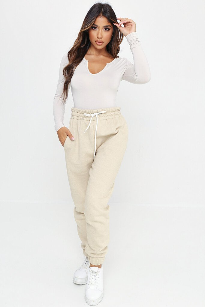 Sand Notch Front Long Sleeve Bodysuit view 3