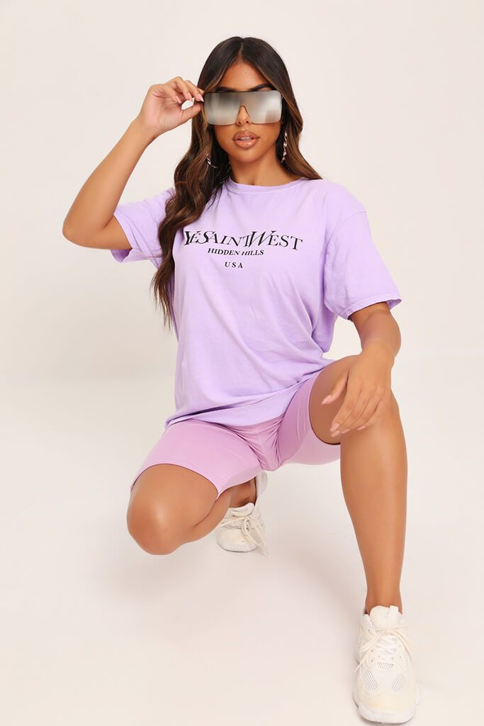 Lilac Yves Saint Oversized T-Shirt view main view