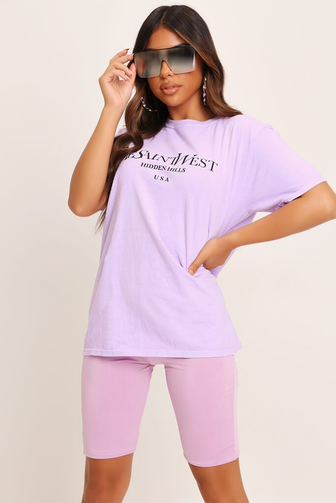 Lilac Yves Saint Oversized T-Shirt view 2