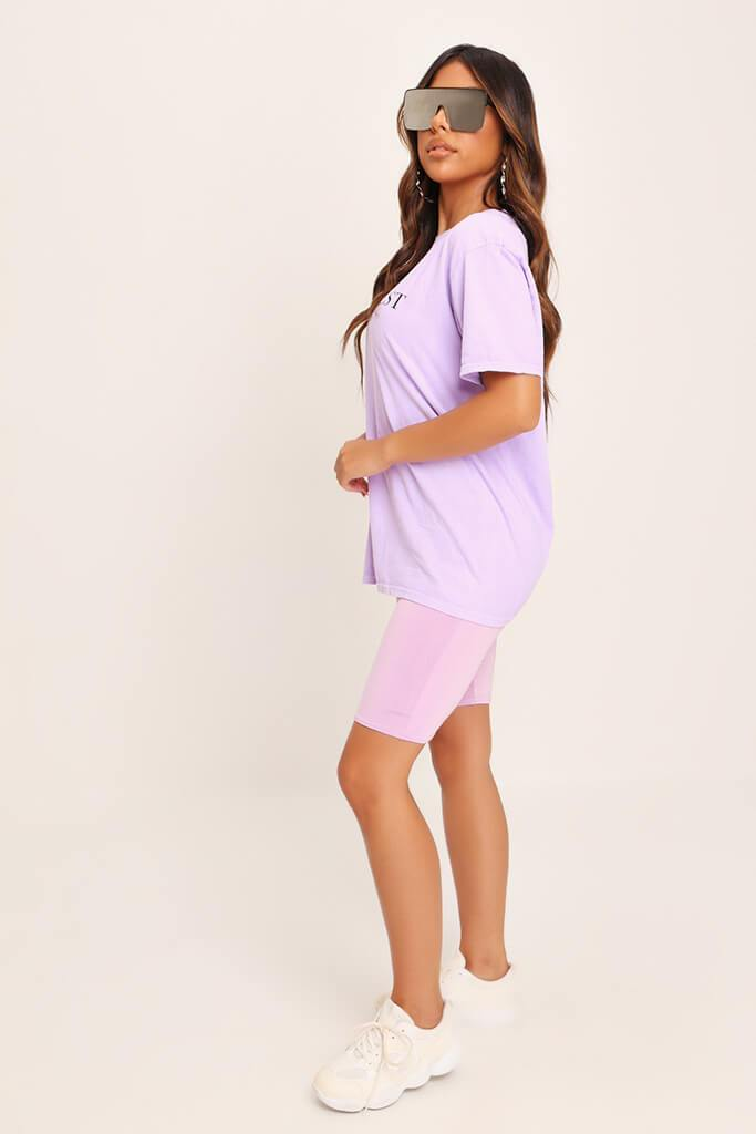 Lilac Yves Saint Oversized T-Shirt view 3