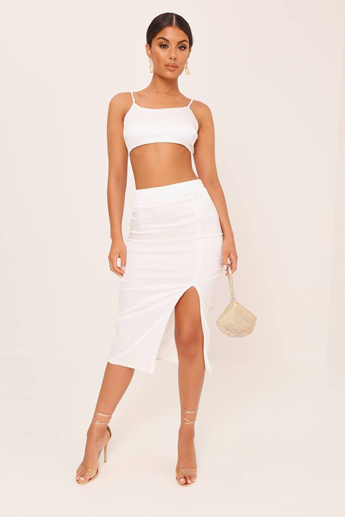 White Satin Strappy Crop Top