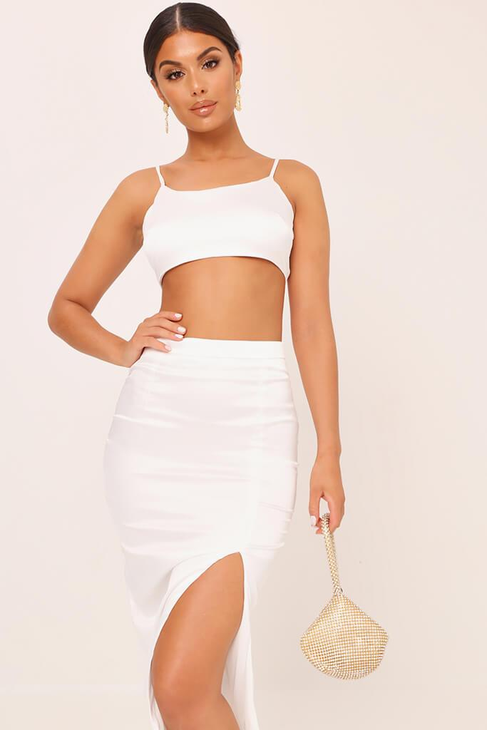 White Satin Strappy Crop Top view 2