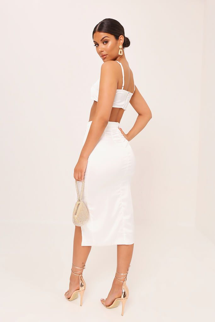 White Satin Strappy Crop Top view 5