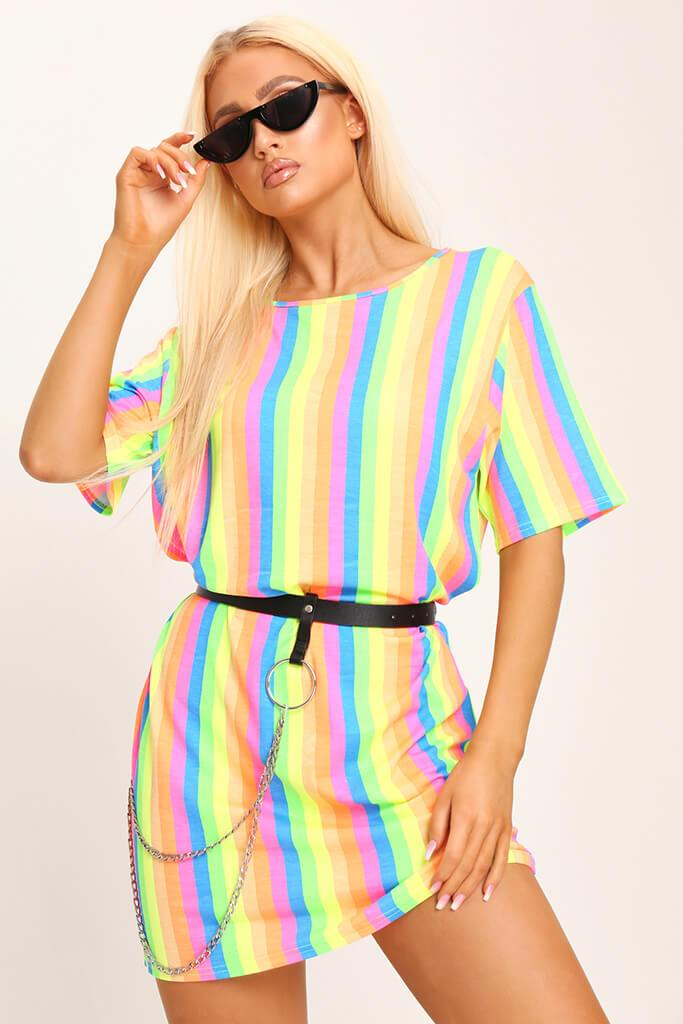 Multi Neon Stripe Over Sized T-Shirt