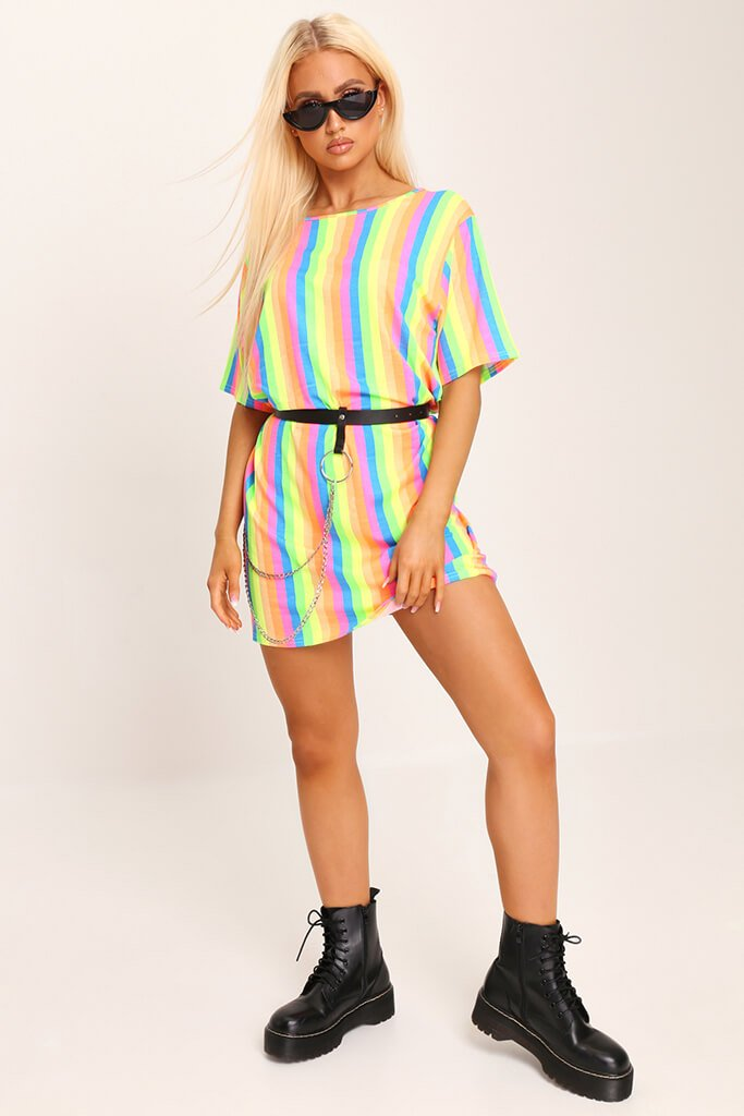 Multi Neon Stripe Over Sized T-Shirt view 2