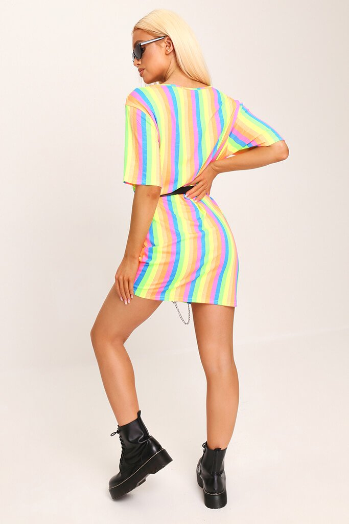 Multi Neon Stripe Over Sized T-Shirt view 5