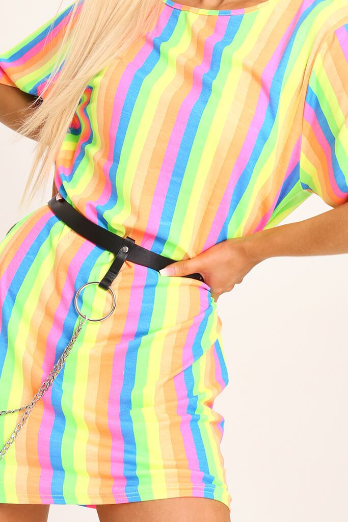 Multi Neon Stripe Over Sized T-Shirt view 4