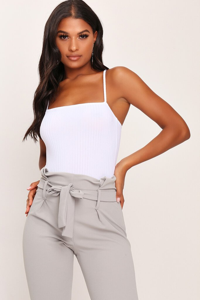 White Ribbed Strappy Bodysuit