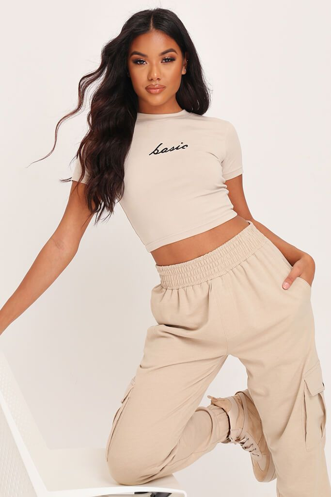 Sand Basic Italics Fitted Crop T-Shirt