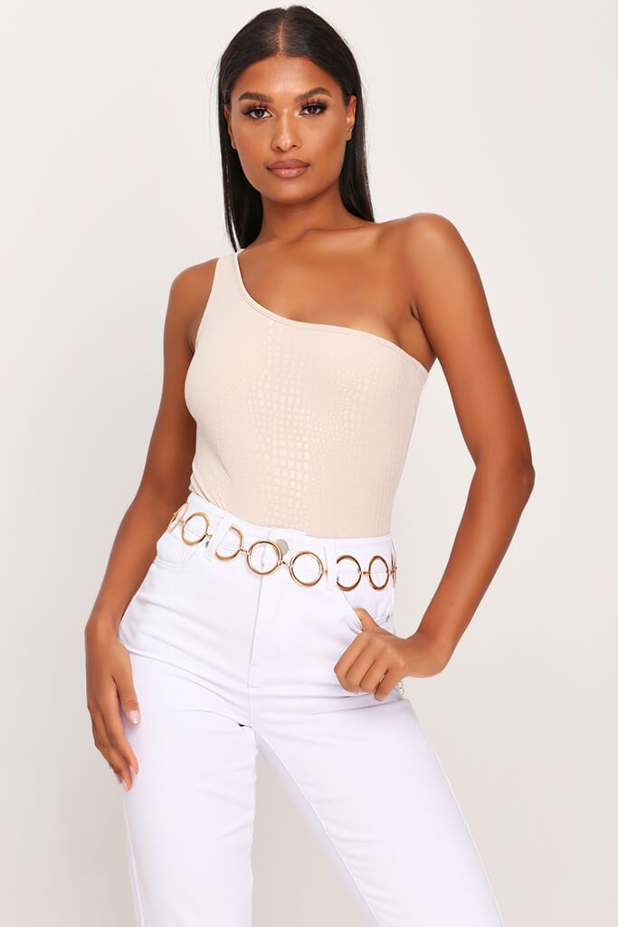 Sand Croc Embossed One Shoulder Bodysuit view main view