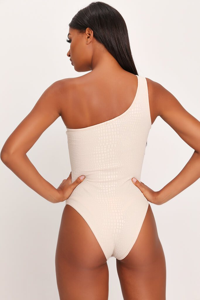 Sand Croc Embossed One Shoulder Bodysuit view 4