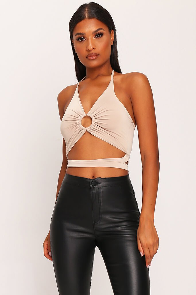 Sand Double Layer Slinky Ring Halterneck Crop Top