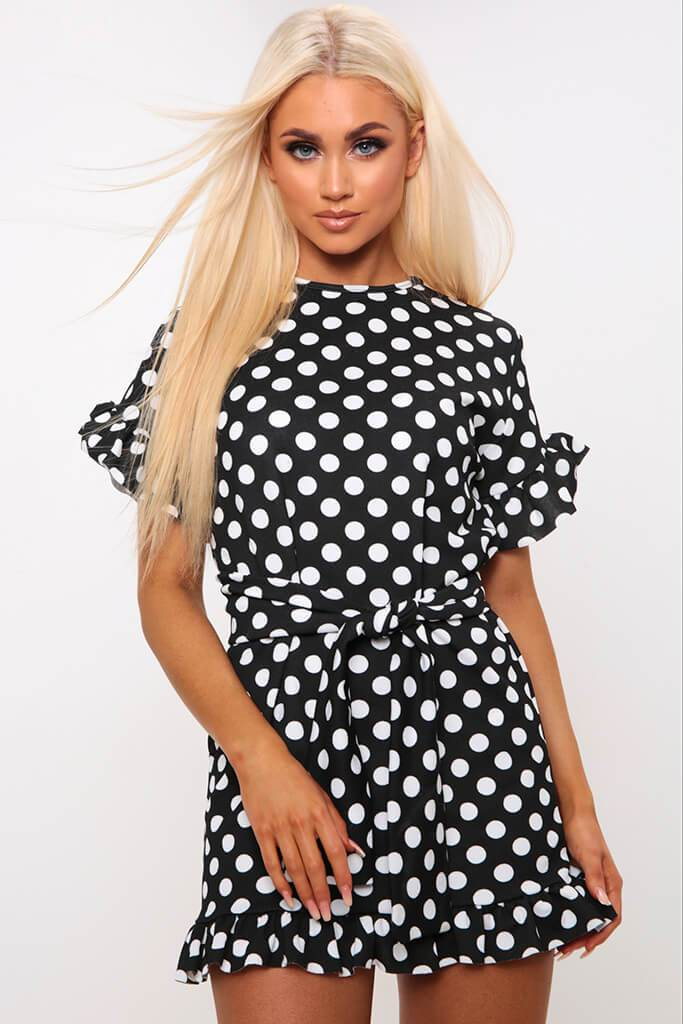 Black Polka Dot Tie Waist Frill Detail Dress