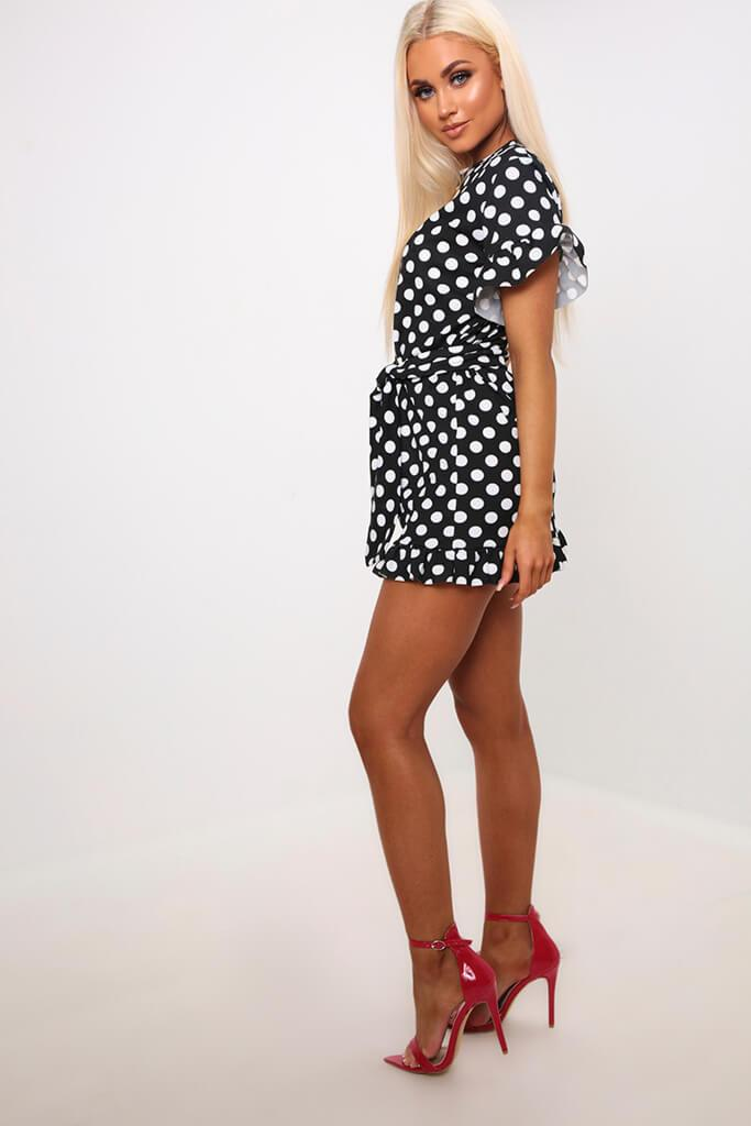 Black Polka Dot Tie Waist Frill Detail Dress view 3