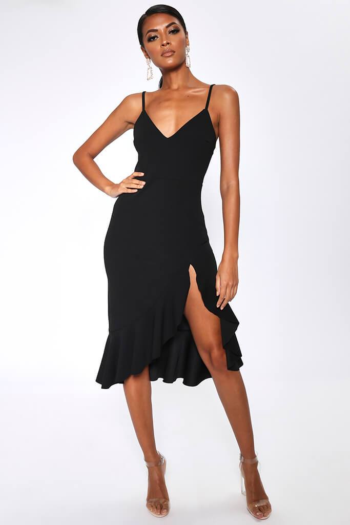 Black Plunge Frill Hem Midi Dress