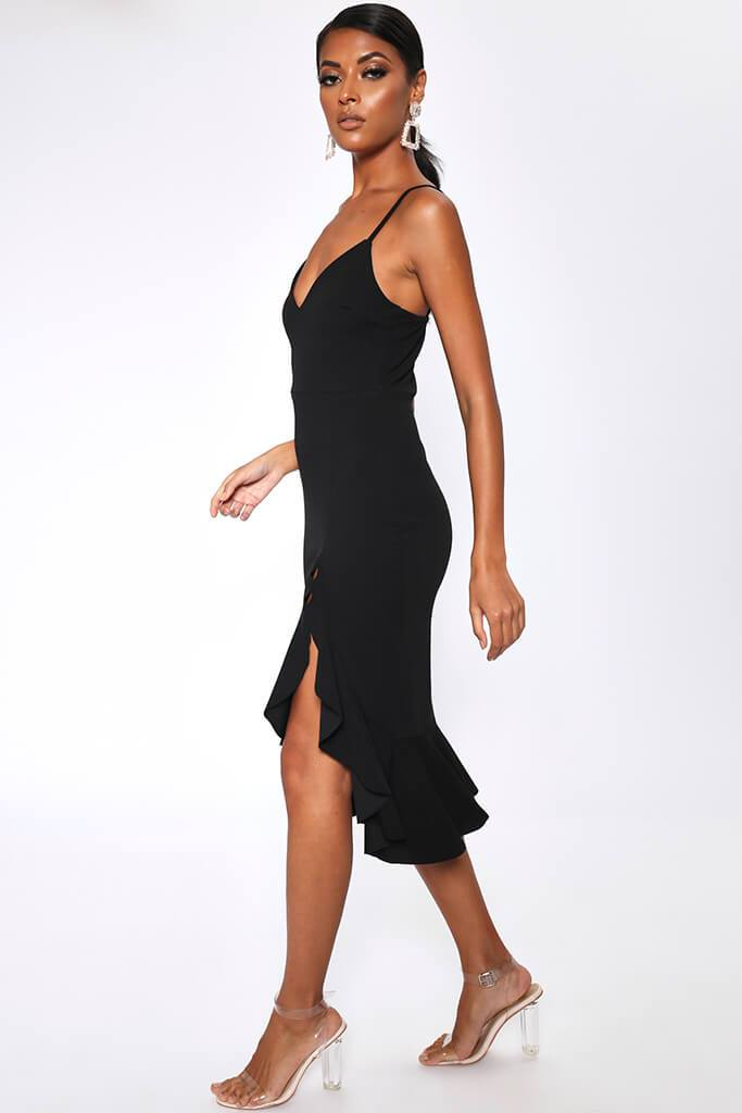 Black Plunge Frill Hem Midi Dress view 3