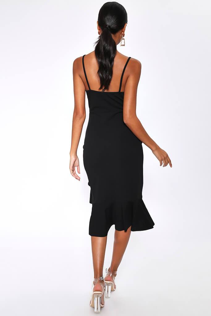 Black Crepe Plunge Frill Hem Midi Dress view 5