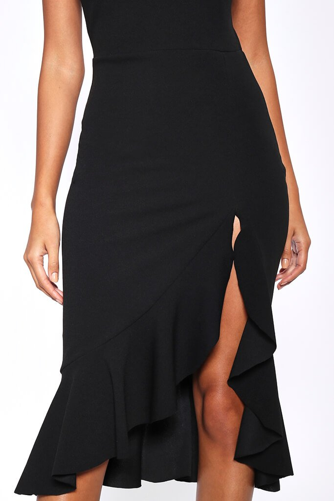 Black Crepe Plunge Frill Hem Midi Dress view 4