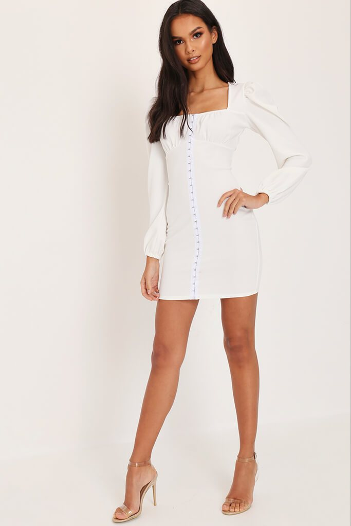 White Long Sleeve Ruched Hook And Eye Dress view 3